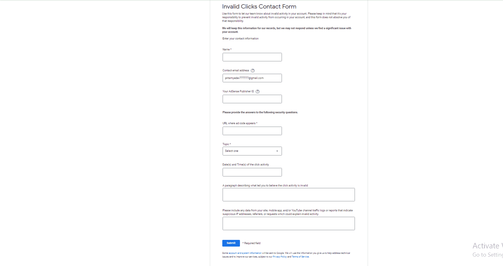 Google Adsense Invalid Click Activity